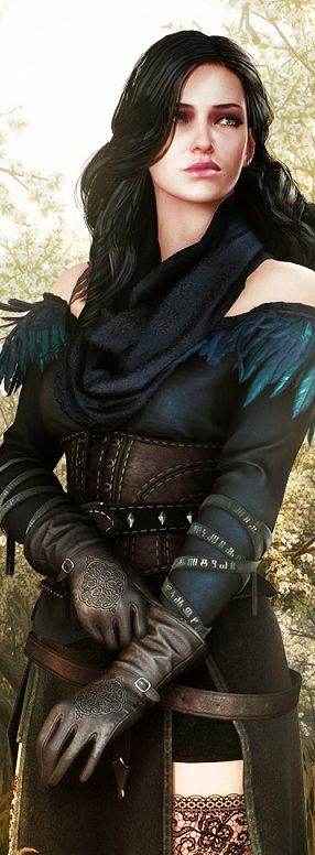 "Female fighter, rogue, maybe magic user. Love the feathers at the shoulders. ""Witcher game art"""