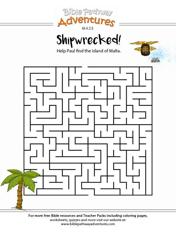 Shipwrecked Paul The Apostle Maze Bible Study For Kids Bible