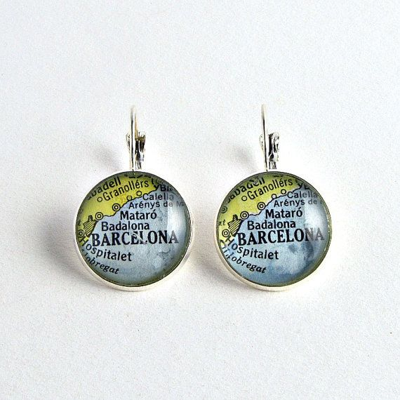 Barcelona Map Earrings / Silver Map Jewelry / by salvagedstudiomke
