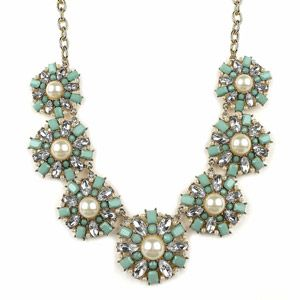 "Pearl and Mint Flower Statement Necklace, 20"" - walmart - $10 - love this one"