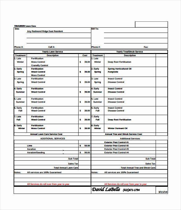 Mowing Schedule Template Inspirational Bid Sheet Template