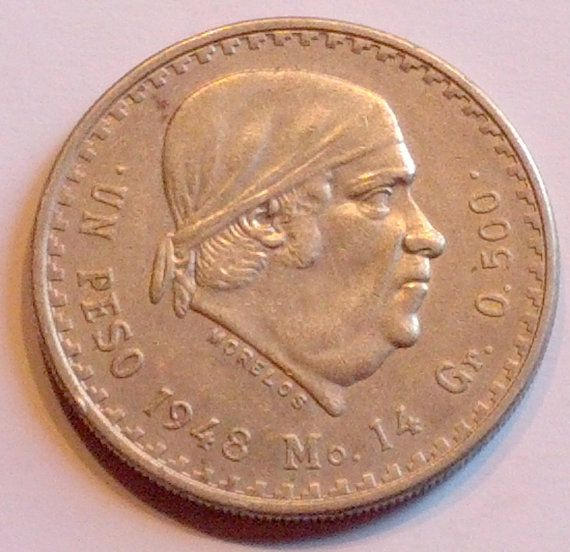 1948 Mexico One Peso Mexican 500 Silver Coin by OtterCreekAntiques, $19.95