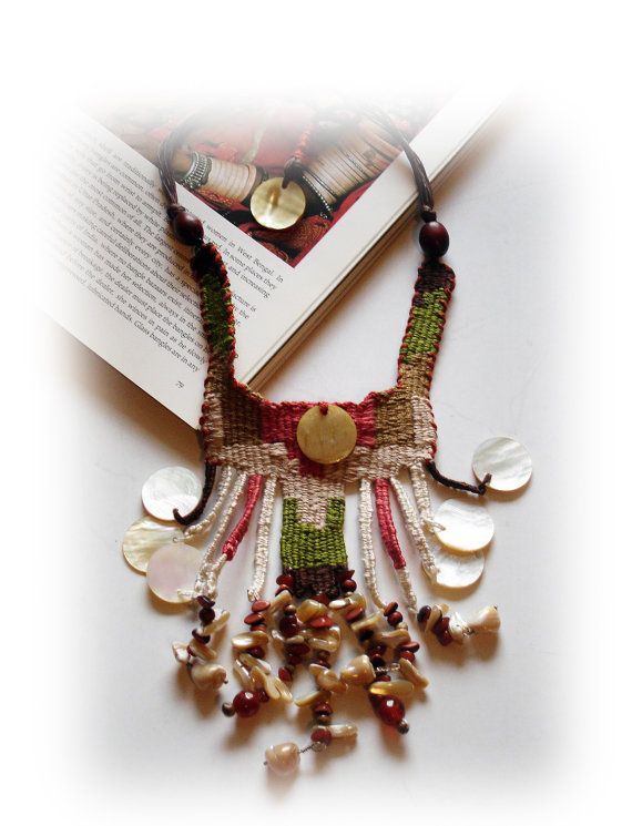 cotton handwoven necklace /ivory dress/  by JewelryByFlorita