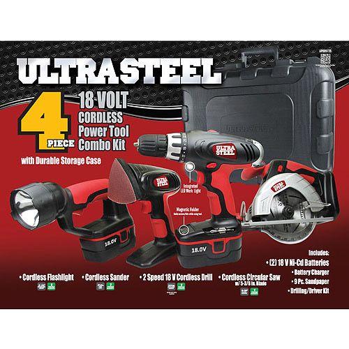 Black Friday Only! Ultra Steel 4-Piece 18V Cordless Power Tool Kit: Tools : Walmart.com $79