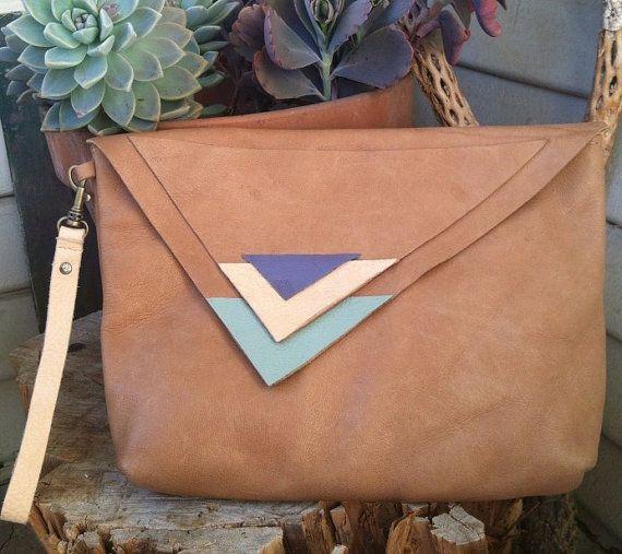 LAST ONE SALE Soft caramel leather handmade clutch purse lavender peach mint asymmetrical triangles southwest tribal clutch wristlet ooak