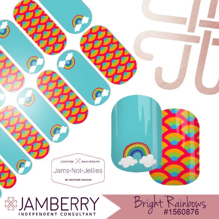 Bright Rainbows 🌈 Jamberry Custom NAS Design 🌈EASY Rainbow Nail Art
