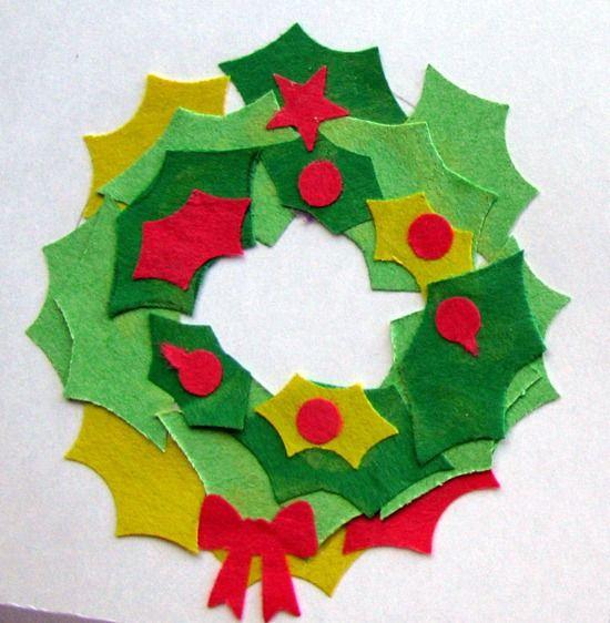 Postales de navidad corona de cartulina gabonak - Manualidades postales navidad ...