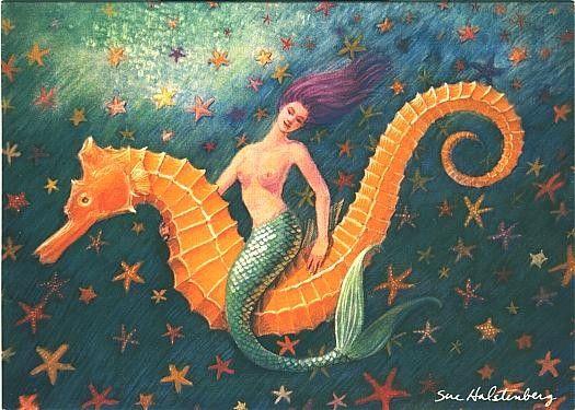 Seahorse Mermaid Art whimsical fantasy starfish 5x7 note card of painting. $3.95, via Etsy.