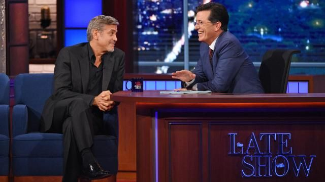 The new 'Late Show' host also gave Clooney a belated wedding gift!