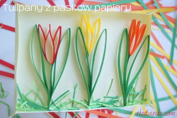 Wiosenne tulipany z paseczków papieru - przestrzenna praca plastyczna. Spring tulips from paper strips - Plastic surgery