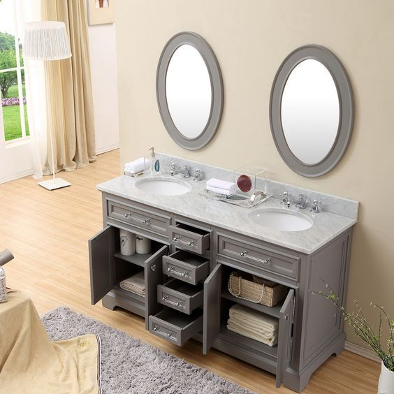 Derby 60 Cashmere Grey Double Sink Bathroom Vanity With Matching Framed Mirrors