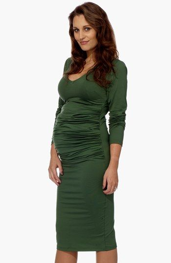 Eva Alexander London Ruched Maternity Midi Dress available at #Nordstrom