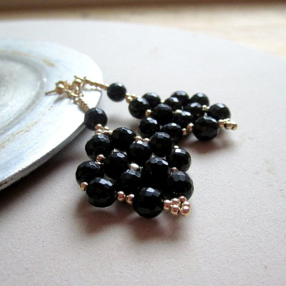 Black Earrings Gold Jewelry Beaded Jewellery by jewelrybycarmal, $30.00