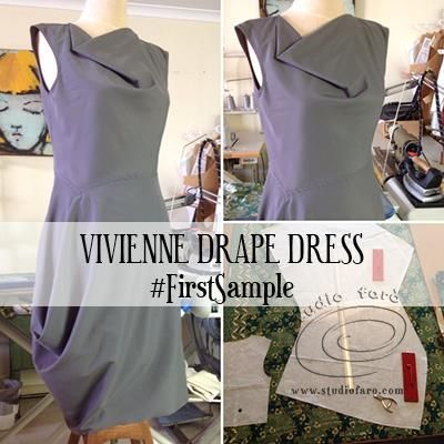 Back in the land of blogging and I've made a #FirstSample of the Vivienne Drape Dress.  I've recently turned this #PatternPuzzle into an afternoon workshop that I hold at the studio.  Students spend a