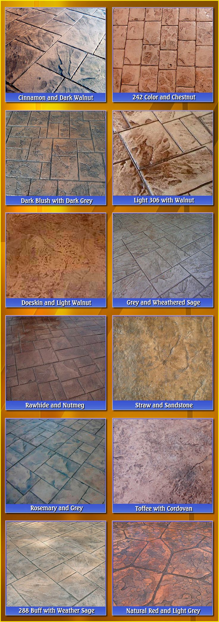 Stamped Concrete Colors-Biondo Cement Macomb, MI                                                                                                                                                                                 Más