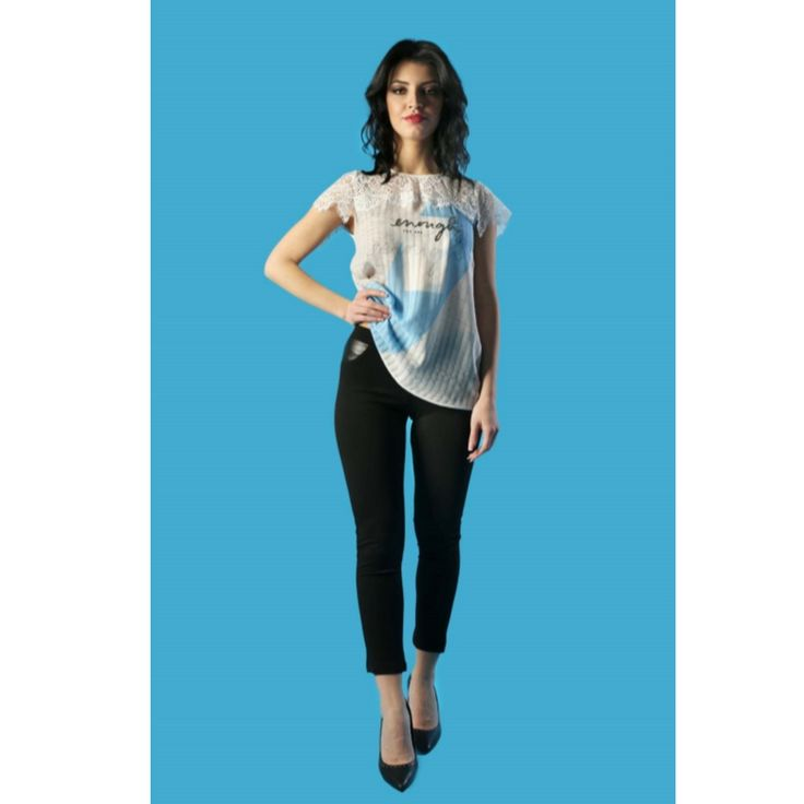 Blusa cocktail con la stampa e pizzo  Semitrasparente     Made in Italy  https://www.lorcastyle.it