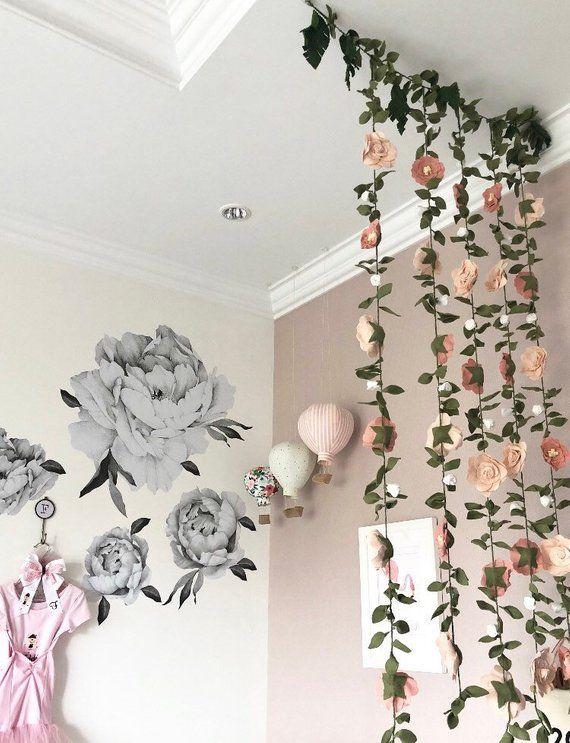 Vertical Garland Wall Hanging Blush Pink And White Vertical Garlands Felt Flower Garlands Pink Monkey Room Felt Flower Garland Flower Garlands Felt Flowers
