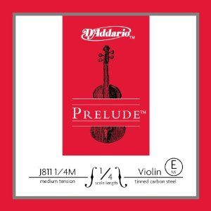 D'Addario J811 1/4M Prelude Silk & Steel violin Strings, Medium by D'Addario. $4.14. From the Manufacturer                Scaled to fit 1/4 size violin with a playing length of 10 1/2 inches (265mm), these medium tension strings are optimized to the needs of a majority of players. This is a plain steel E (tin-plated high-carbon steel). Packaged in uniquely-designed sealed pouches providing unparalleled protection from the elements that cause corrosion. Prelude vi...