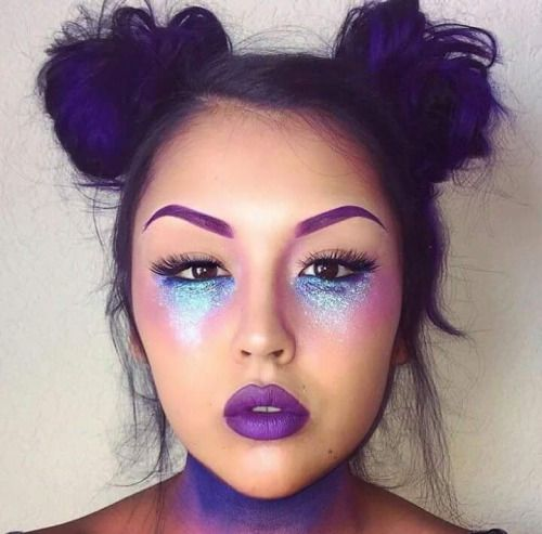 Love the purple eyebrows and glitter under the eyes