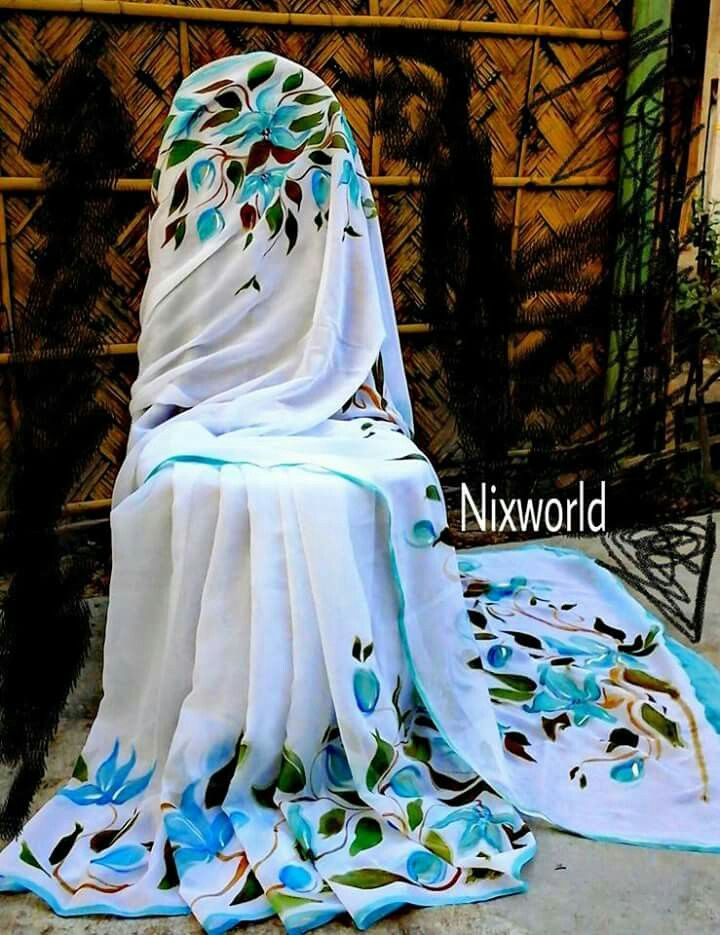 Hand painted chiffon  saree
