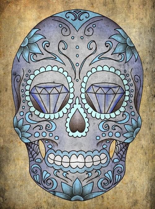 #skull #illustration #tattoo art #tattoo design #sugar skull #diamonds #dia de los muertos #day of the dead #intricate #blue skull