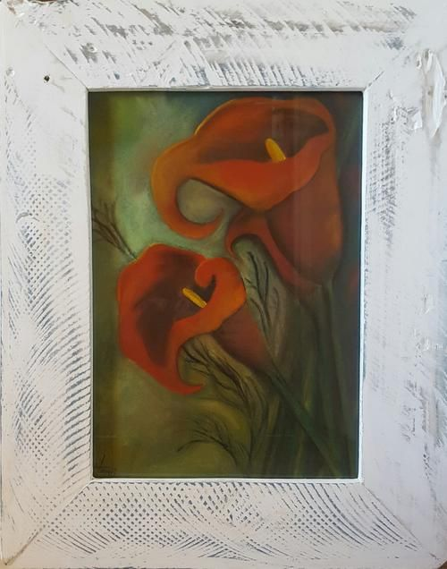Buy FRAMED - Red Arum Lily- Painting with watercolours and soft Pastels Solid wood Frame included for R600.00