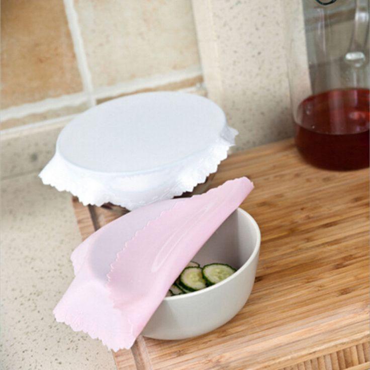 Tramo de silicona Tazón Cubierta Wrap Reutilizable Aferran Películas Mantener Fresco Portavasos Estera