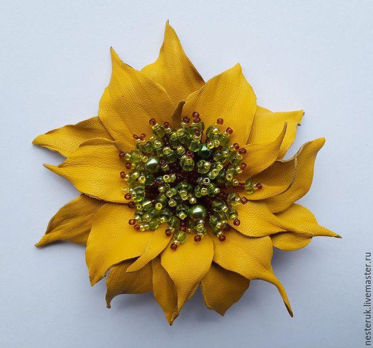 """Купить Брошь из кожи. Цветы из кожи. """" Солнечный привет"""" - желтый, подсолнух из кожи, подсолнух"""