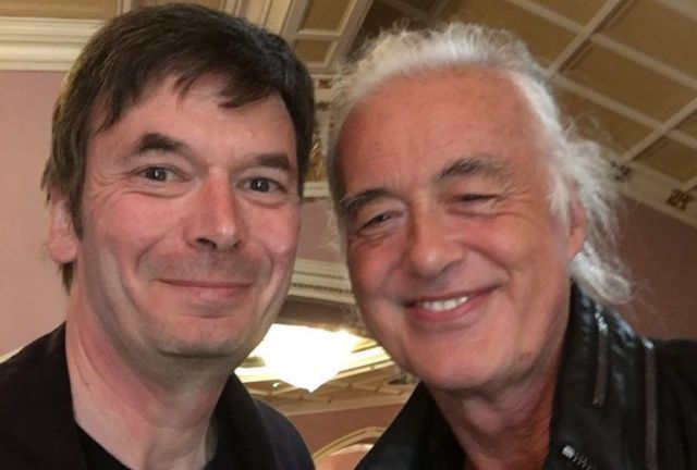 Jimmy Page in Belfast with  Author Ian Rankin on September 21, 2016 following a Van Morrison concert.