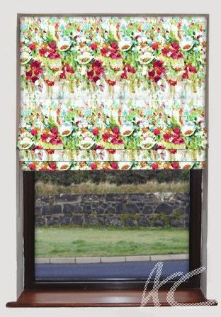 #Printworks #Flower #Garden #Venetian #Red #Roman #Blind #Curtains #Red #New #Decorating #Floral #Cushions