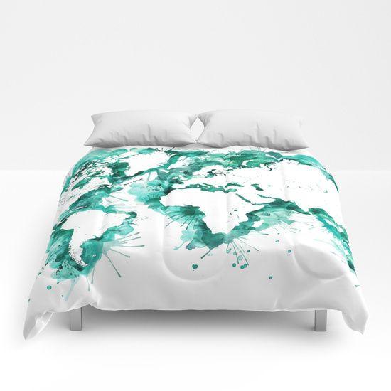 Watercolor splatters world map in teal Comforters