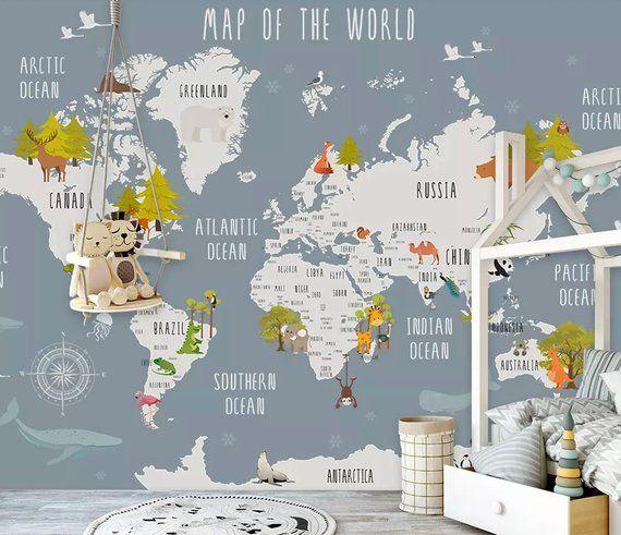 Kids World Map Wallpaper Nursery Animal Map Wall Murals Boys