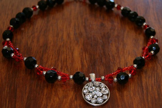 Red and giant glass bead necklace with pendant