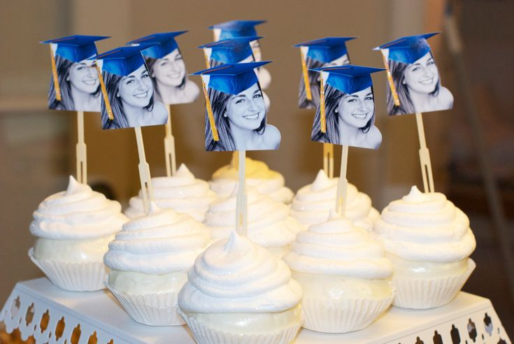 Personalized Graduation Hat Photo Cupcake Toppers Hats