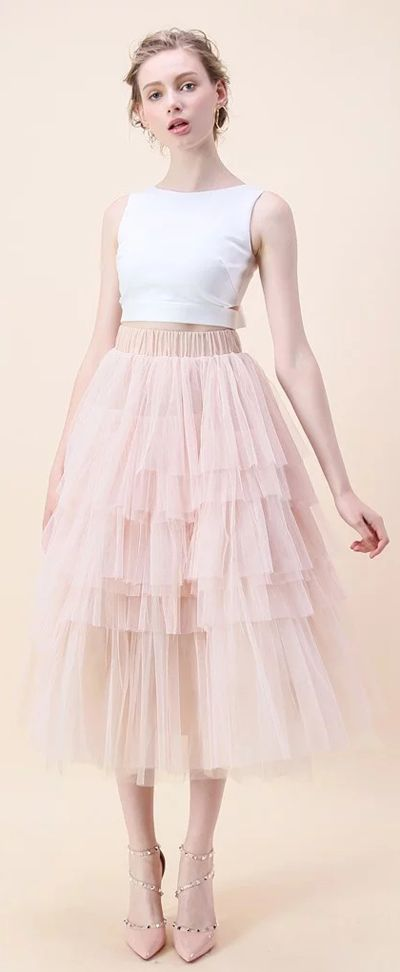 Swooning? We get it! These layered tulle skirts have us head over heels in love. Find more tulle skirts at Chicwish.com