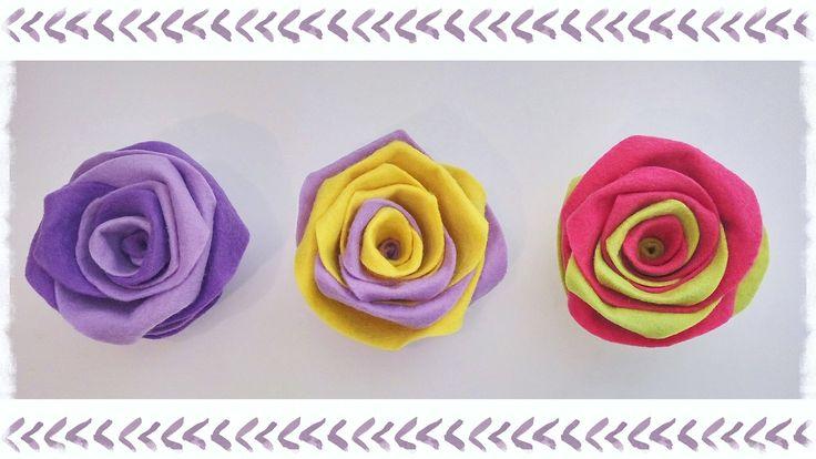 """Rose """"Arcobaleno""""  in feltro senza cucire"""