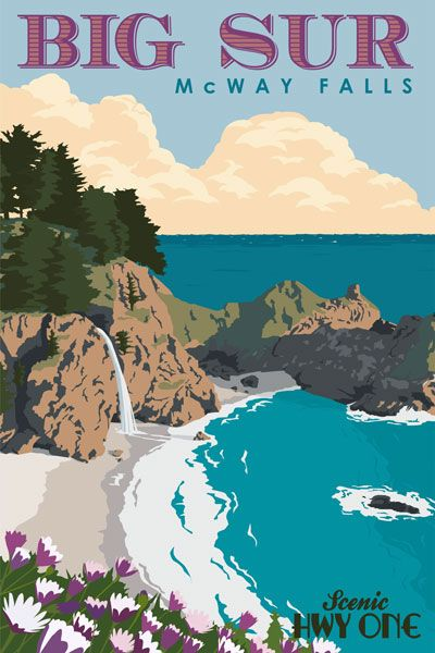 Vintage Travel Poster  - Big Sur - McWay Falls -  California  - Steve Thomas.