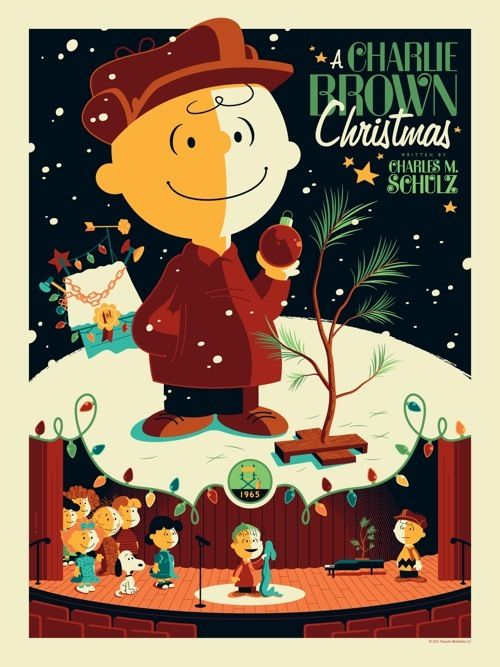 a charlie brown christmas poster by tom whalen