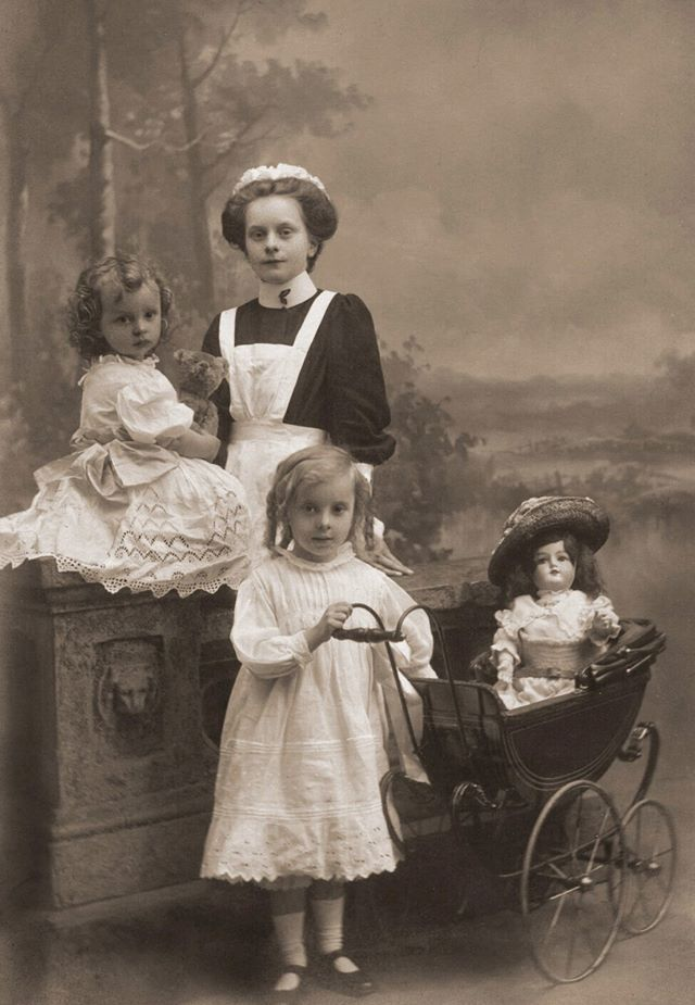 Nursery Maid With Two Children 19th C Working Class