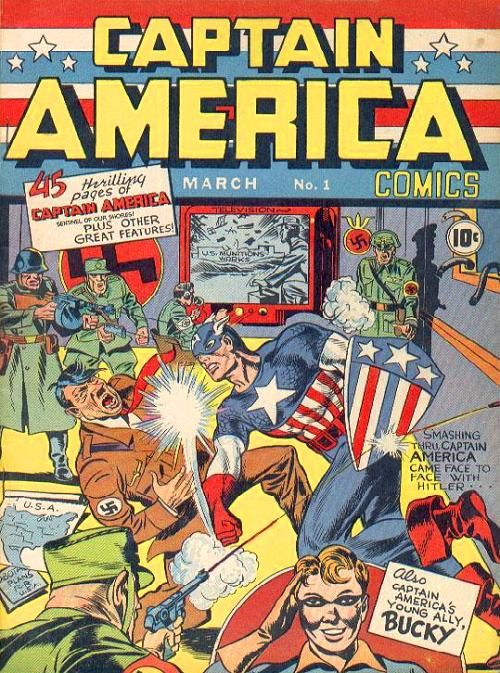 Captain America:  In March of 1941, World War II was raging in Europe but the United States remained safely outside the battle of good versus evil - except on the comic book pages. Joe Simon, who died on December 14 at the age of 98, and Jack Kirby created Captain America a personification of all that was great in the U.S. to personally lend a hand in taking down the Nazis.