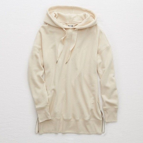 Aerie Street Hoodie ($30) ❤ liked on Polyvore featuring tops, hoodies, neutral, hoodie top, side zipper hoodie, aerie hoodie, oversized hoodies and hooded pullover