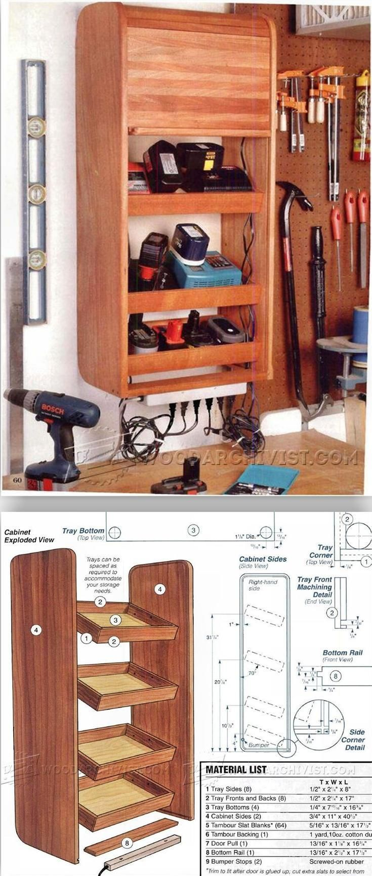 Cordless Tool Charging Cabinet Plans - Workshop Solutions Plans, Tips and Tricks | http://WoodArchivist.com