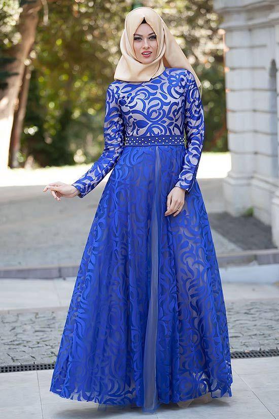 Puane-sax-mavi-elbise   Tesettürlü Gelinlikler ve Gelinlik Modelleri