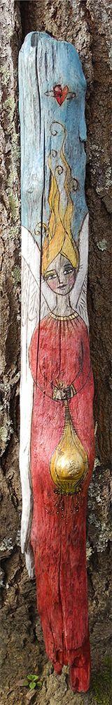 "Latest Driftwood Angel ""Lantern"" by Joyce van der Lely"