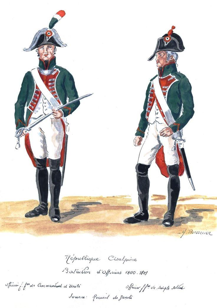Republique Cisalpine;  Bataillion d'officiers. 1800-01. Comandante de Unità, officier d'inquadramento di un battaglione di fanteria.