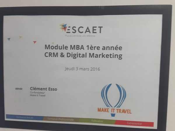 """Rencontre avec Clément Esso, co-fondateur de Make It Travel, dans le cadre de notre module """"CRM et Digital Marketing"""""""
