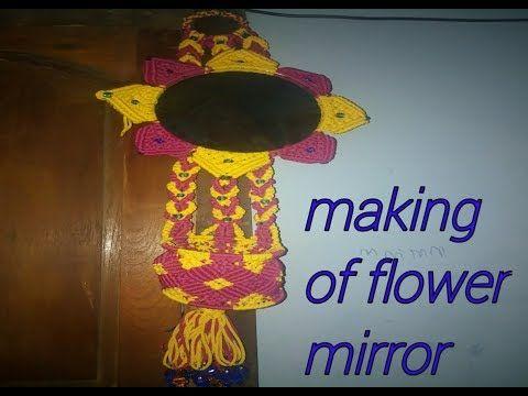macrame flower design mirror complete tutorial#1 - YouTube