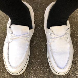White Vans Boat Shoes #fashion