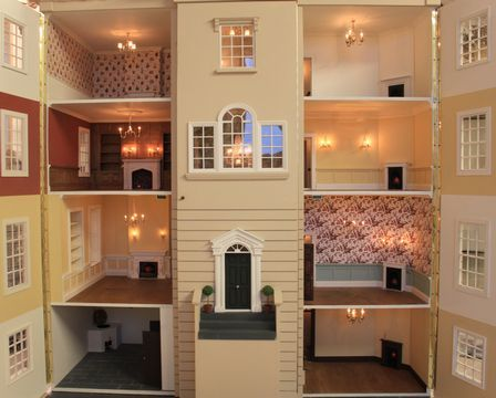 Georgian Dolls House Wisbech Rear Of The With Two Panels Open