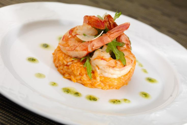 Beautiful shrimp on rice.